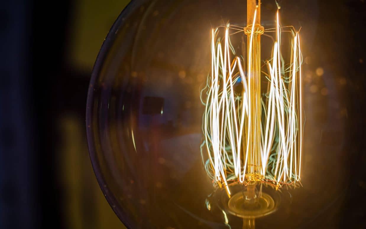 Closeup of an LED filament ligthbulb