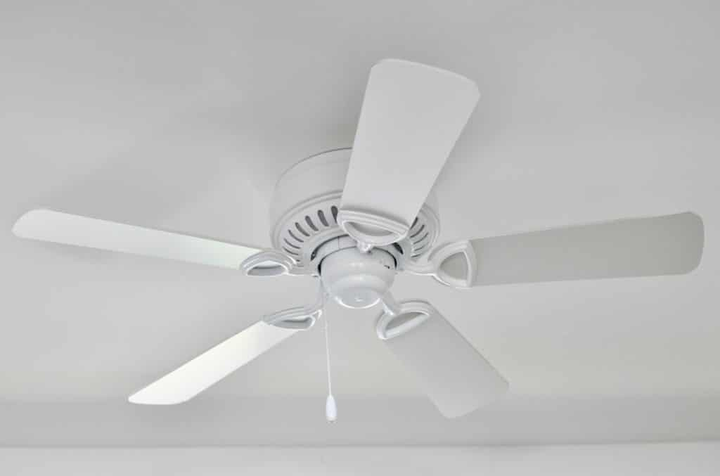 New installation of a white ceiling fan
