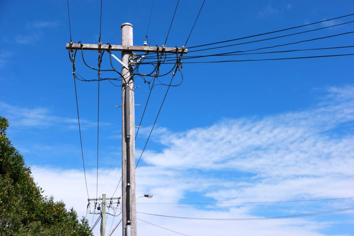 Australian Power Lines with sky and clouds in the background